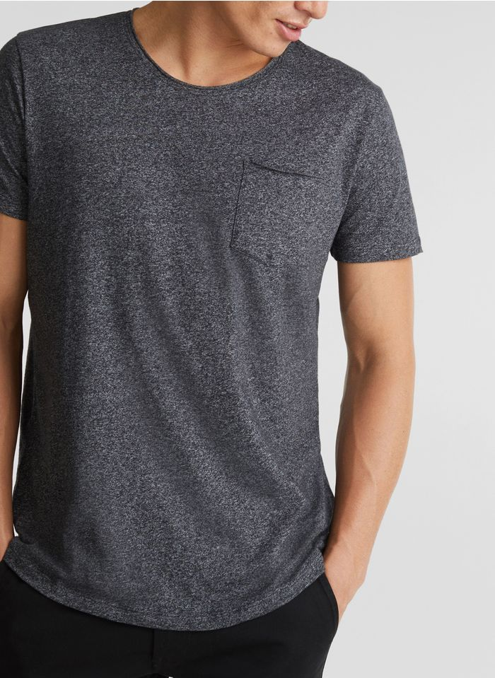 ESPRIT Tee-shirt col rond regular fit en coton mélangé Gris