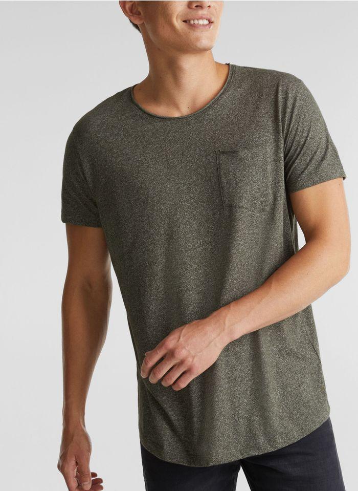 ESPRIT Tee-shirt col rond regular fit en coton mélangé Vert