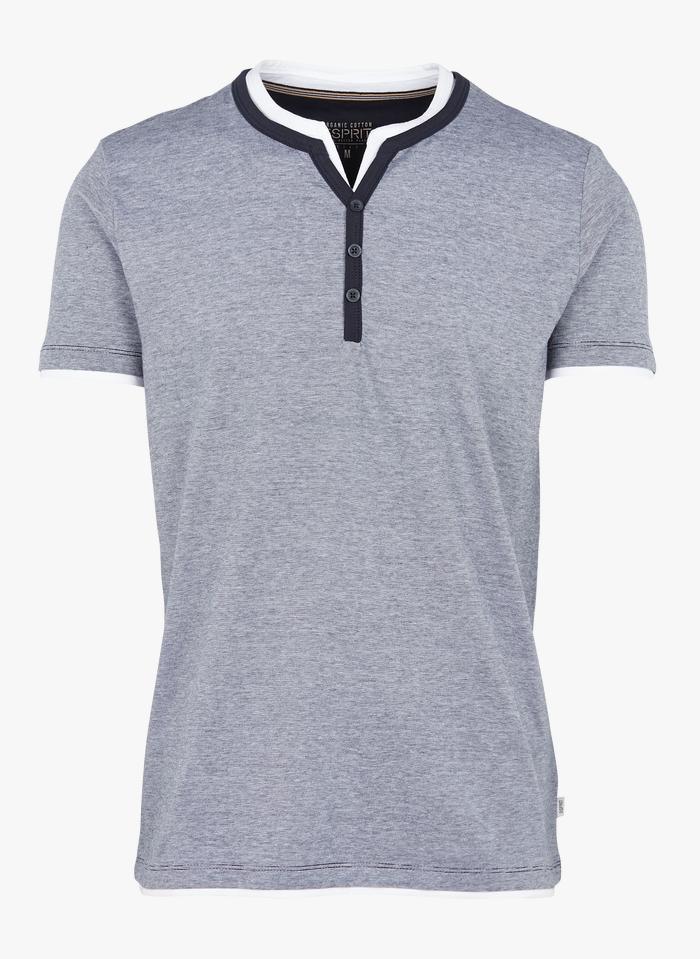 ESPRIT Tee-shirt col V regular-fit à rayures en coton bio Bleu