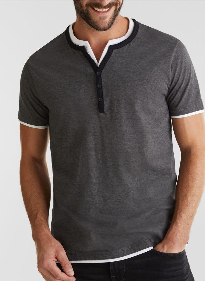 ESPRIT Tee-shirt col V regular-fit à rayures en coton bio Noir