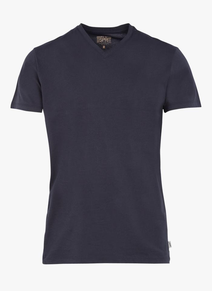 ESPRIT Tee-shirt col V regular-fit en coton bio Bleu