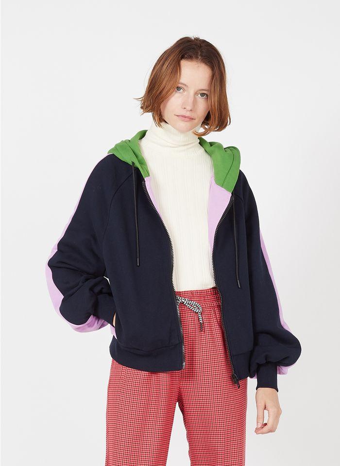 ESSENTIEL ANTWERP Sweat à capuche zippé en coton bio Multicolore