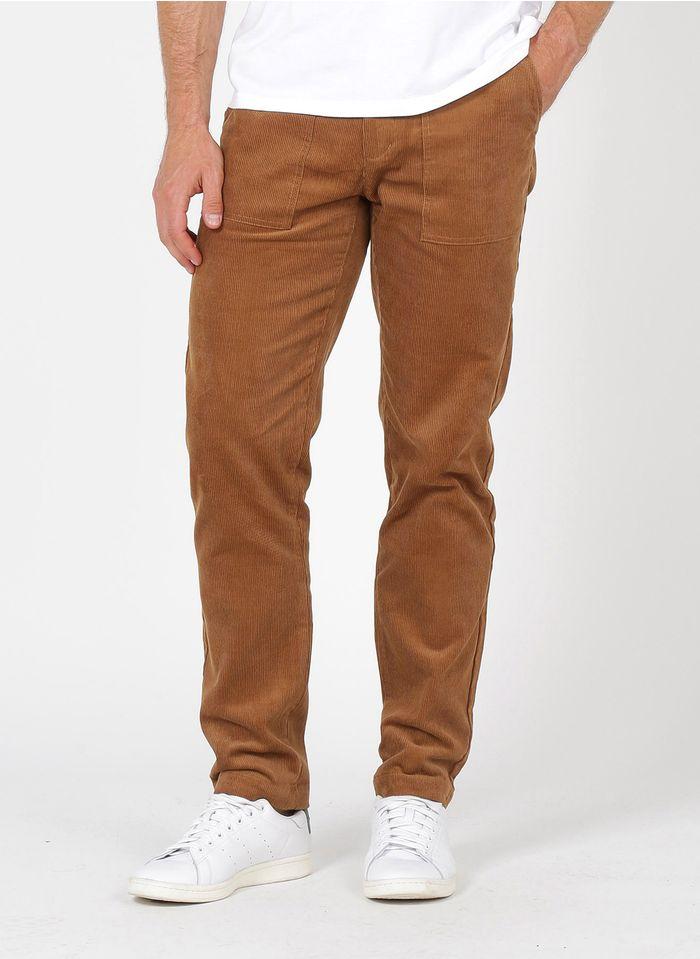 FAGUO Pantalon droit  regular-fit en velours de coton milleraies Marron