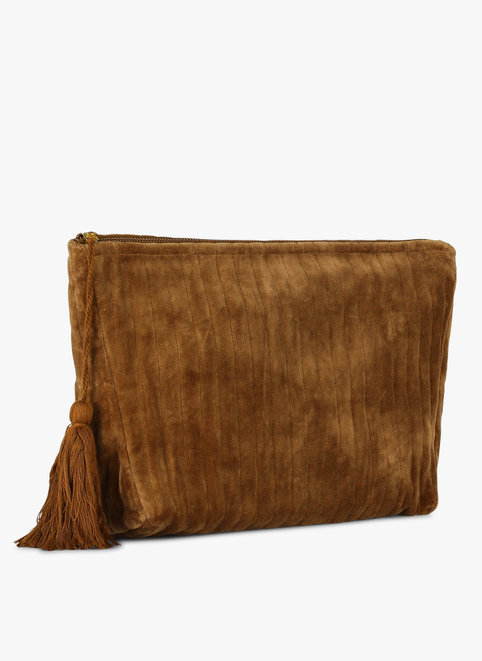 FEEKA Pochette zippée en velours de coton Marron