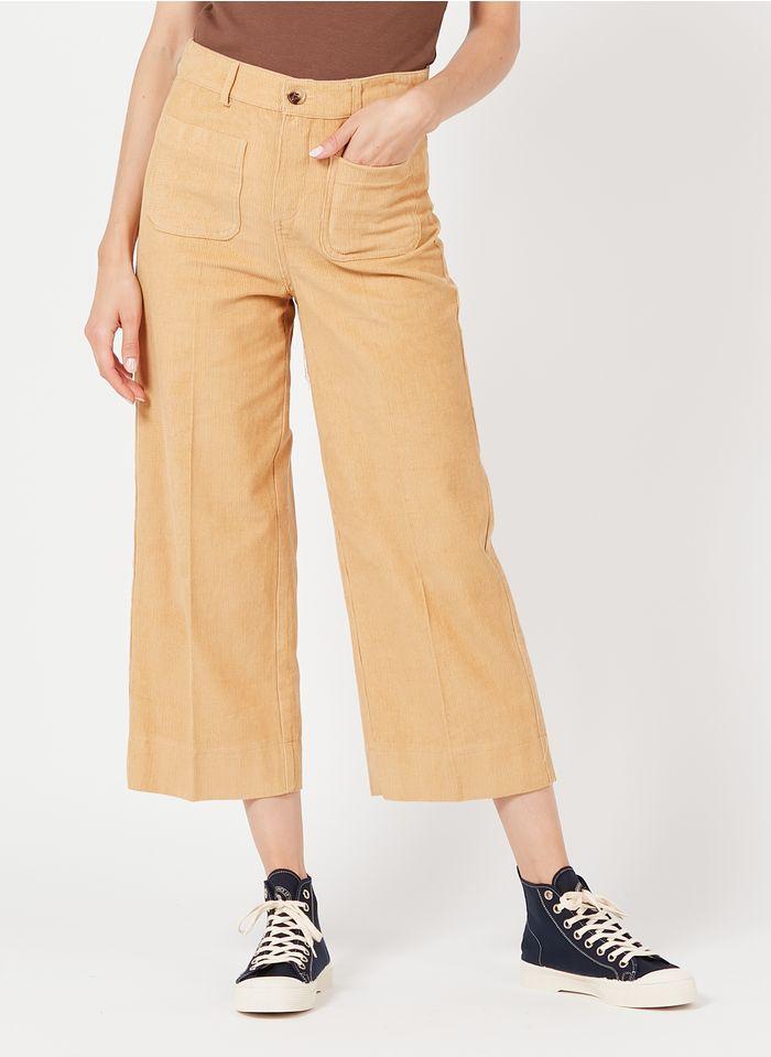 GRACE ET MILA Pantalon large7/8ème en velours côtelé Beige