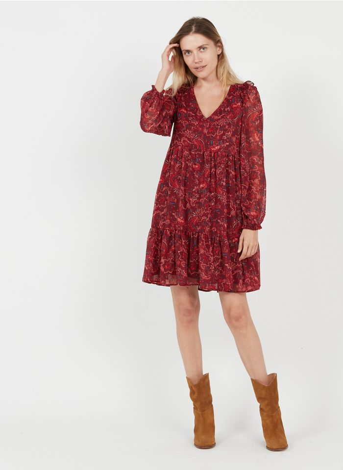 GRACE ET MILA Robe courte col V imprimé floral en crêpe Marron