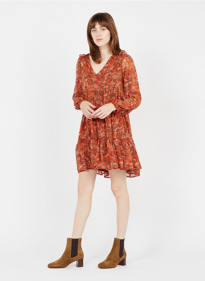 GRACE ET MILA Robe courte col V imprimé floral en crêpe Orange