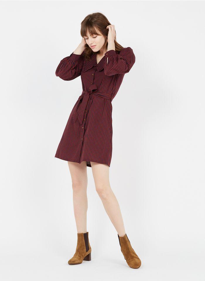 GRACE ET MILA Robe courte grand col claudine motifs carreaux vichy en coton Orange