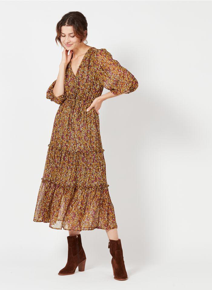 GRACE ET MILA Robe longue col V avec imprimé fleuri en mousseline Kaki
