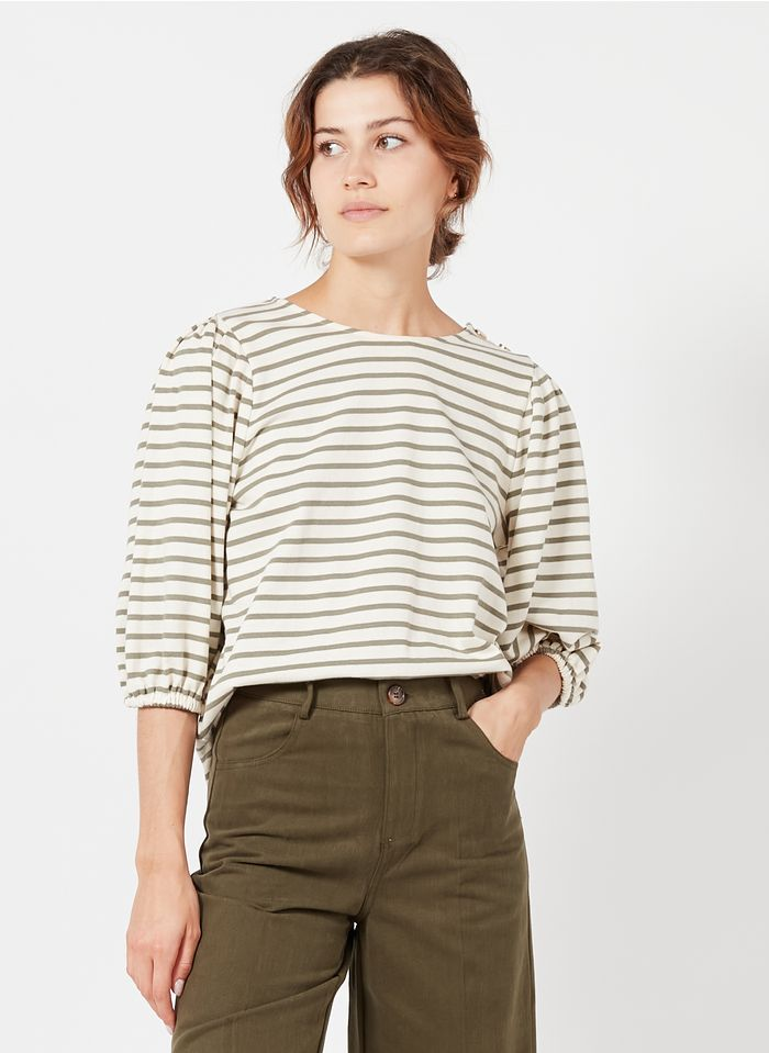 GRACE ET MILA Tee-shirt col rond à rayures en coton Kaki