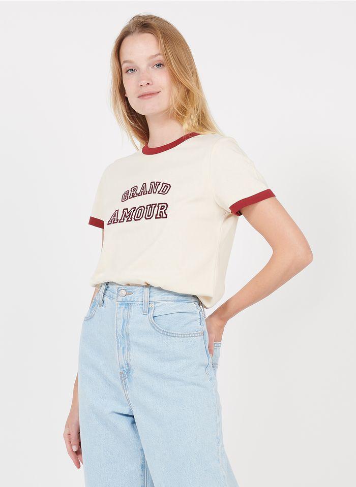 GRACE ET MILA Tee-shirt col rond sérigraphié en coton Beige