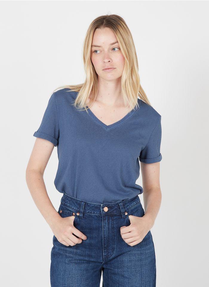 GRACE ET MILA Tee-shirt col V en coton mélangé Bleu