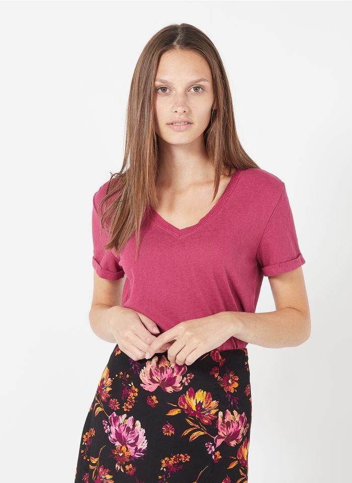GRACE ET MILA Tee-shirt col V en coton mélangé Marron