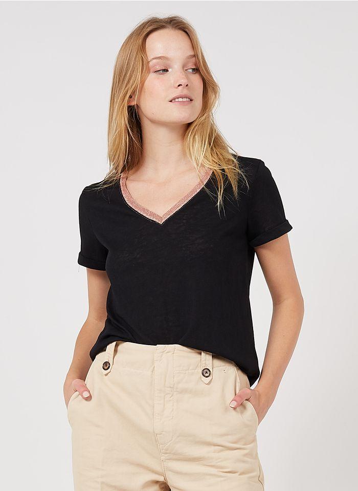 GRACE ET MILA Tee-shirt col V en coton mélangé Noir