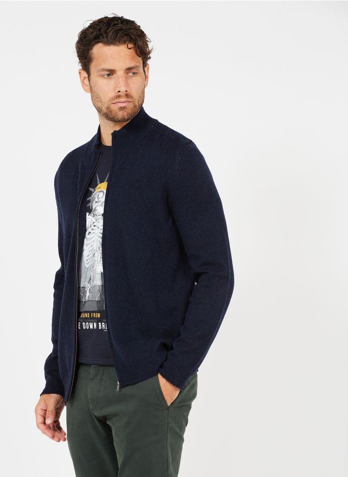 HARRIS WILSON Gilet zippé col montant en laine mélangée Bleu