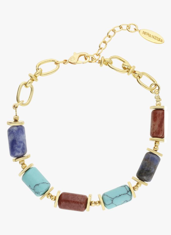 HIPANEMA Bracelet en laiton doré et pierres semi-précieuses Bleu