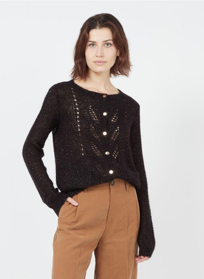 I CODE Gilet col V boutonné tricoté Noir
