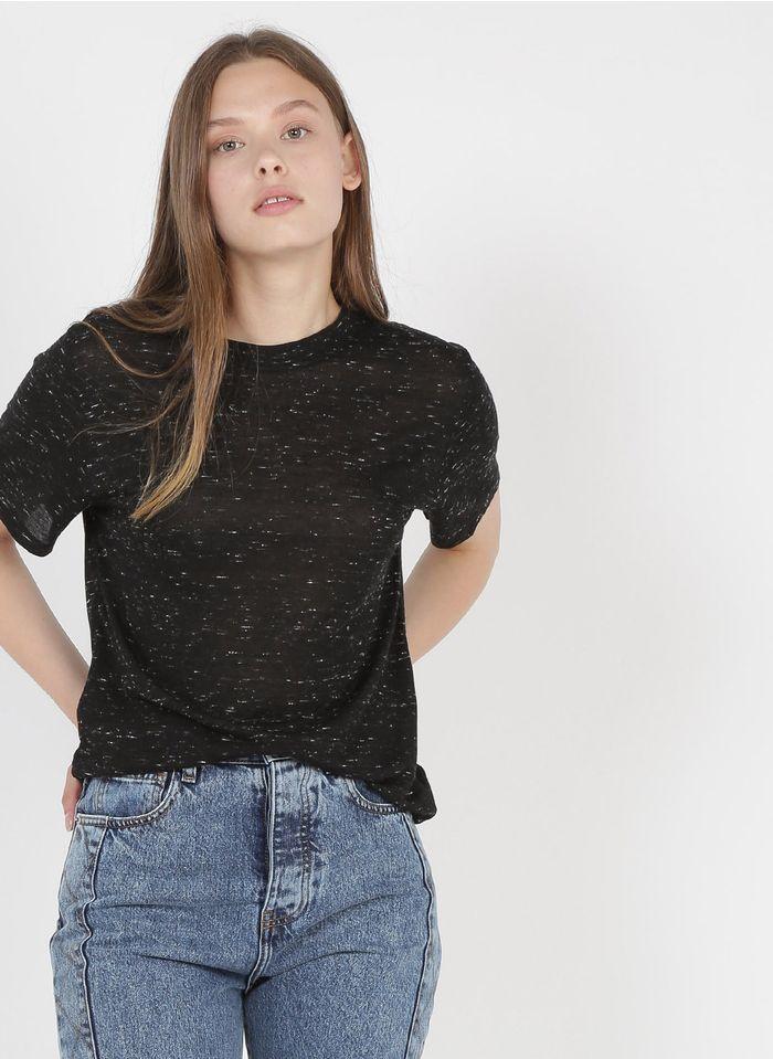 IRO Tee-shirt col rond en laine mélangée Noir
