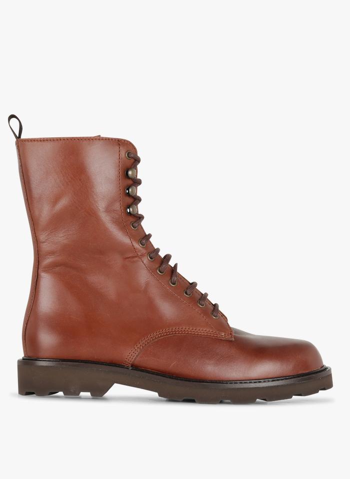 JONAK Boots à semelles crantées en cuir  Marron
