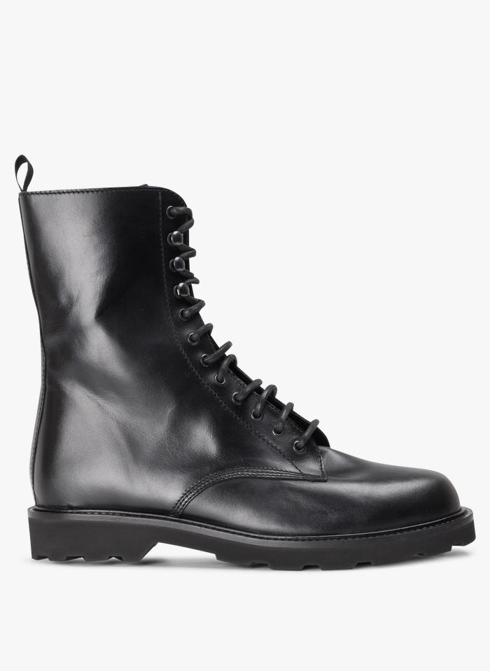 JONAK Boots à semelles crantées en cuir  Noir