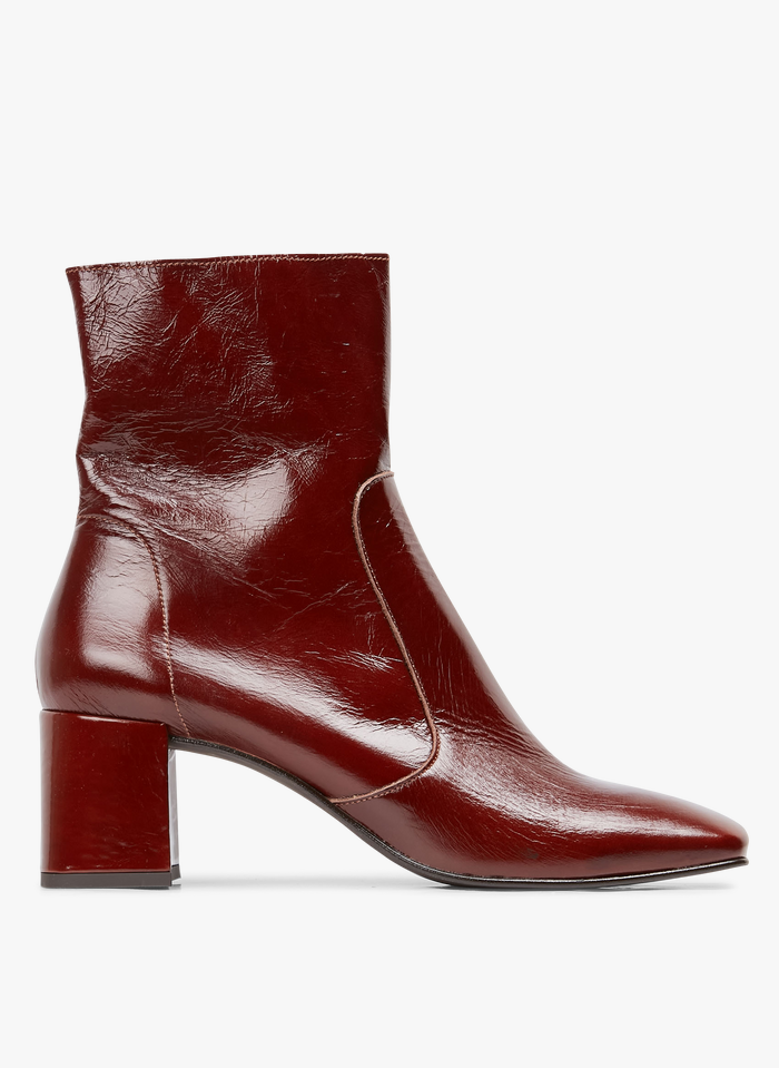 JONAK Boots à talons en cuir verni Marron