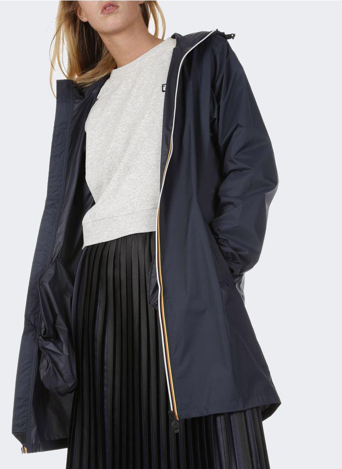 K-WAY Coupe-vent long imperméable en nylon Ripstop avec zip et capuche Bleu