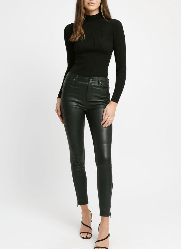 KOOKAI Pantalon slim en cuir Noir