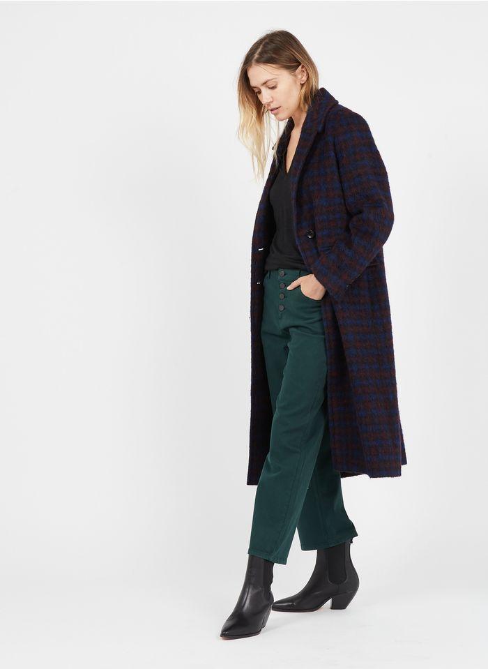 LA FEE MARABOUTEE Manteau long col tailleur à carreaux en laine mélangée  Bleu