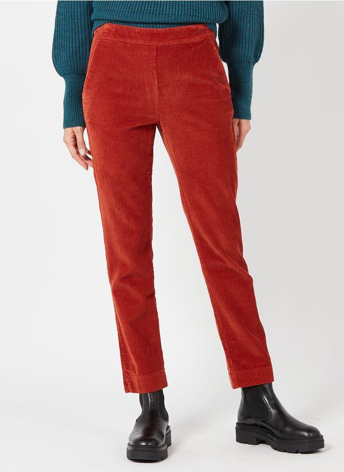 LA FEE MARABOUTEE Pantalon droit en velours côtelé Rouge