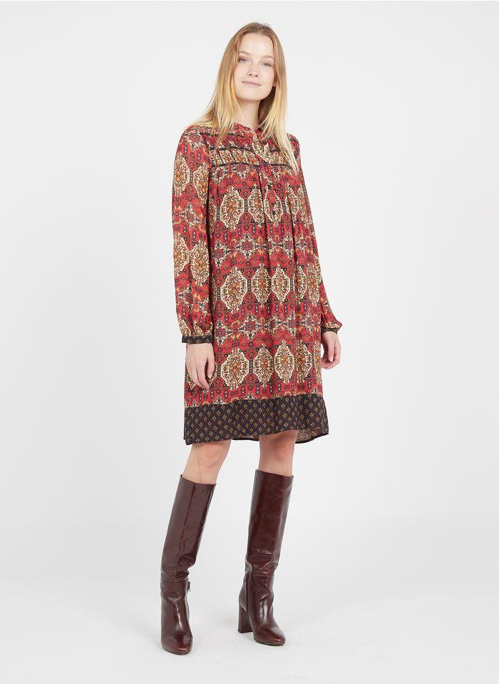 LA FEE MARABOUTEE Robe courte col rond imprimée Rouge