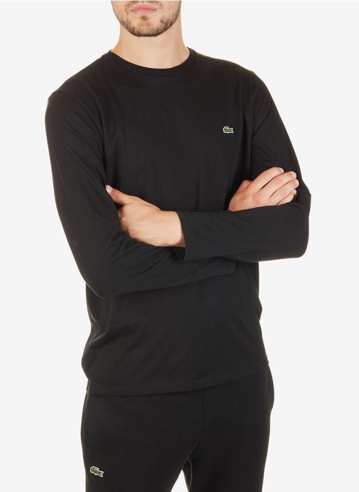 LACOSTE Tee-shirt col rond manches longues regular-fit en coton Noir