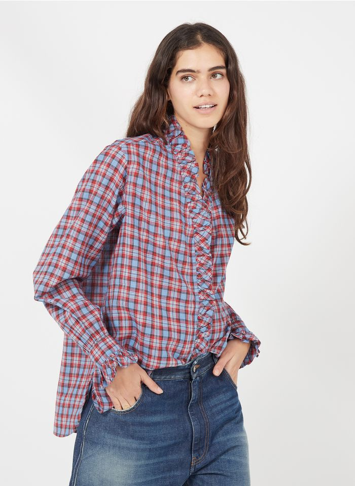 LAURENCE BRAS Chemise à carreaux en coton Bleu
