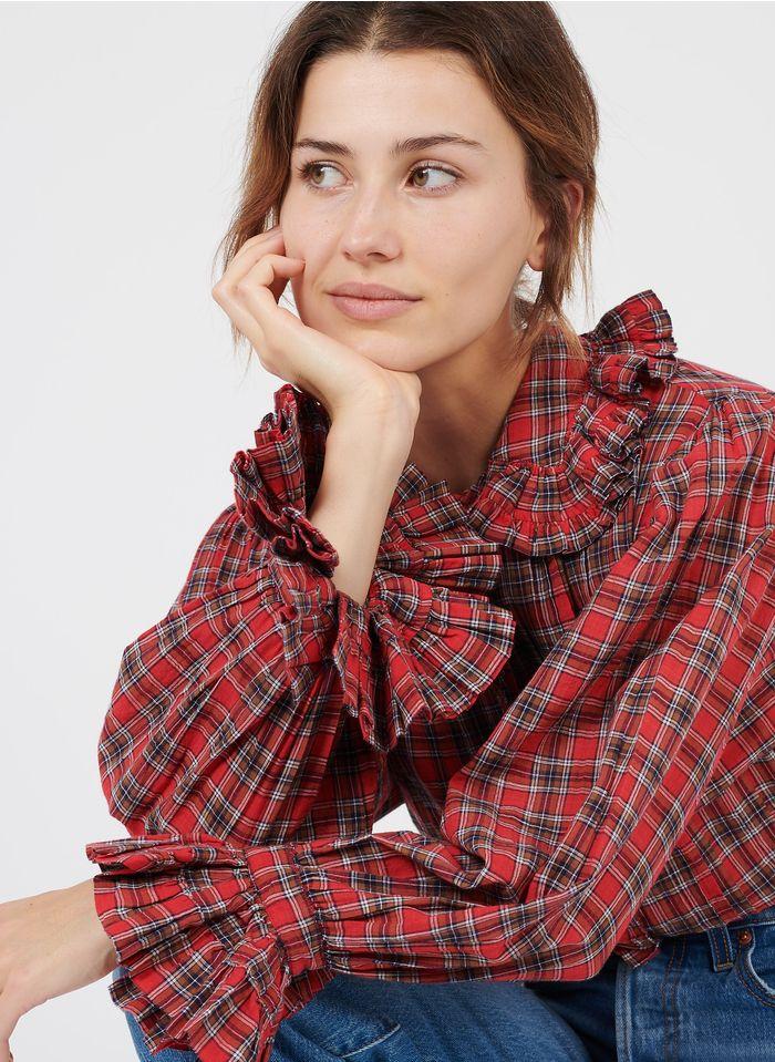 LAURENCE BRAS Chemise col claudine motifs carreaux en coton Rouge