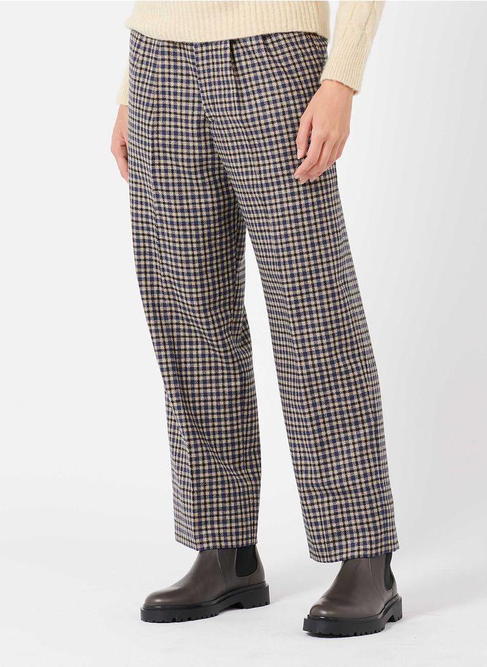 LAURENCE BRAS Pantalon à carreaux en laine Beige