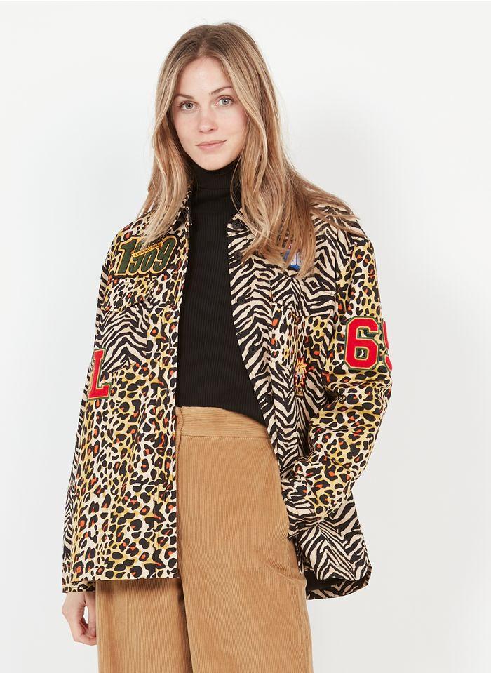 LAURENCE BRAS Surchemise col classique imprimé léopard et zèbre en twill de coton  Multicolore