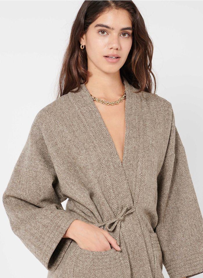 LAURENCE BRAS Veste kimono motif chevrons en laine vierge Marron