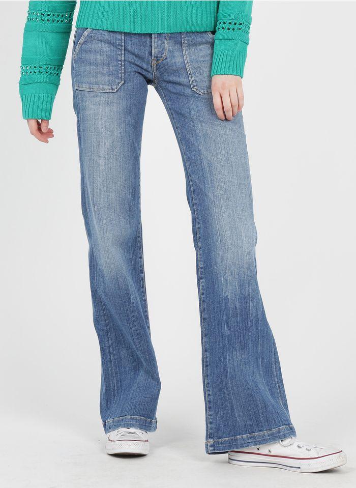 LE TEMPS DES CERISES Jean flare taille basse avec ceinture fleurie Bleu