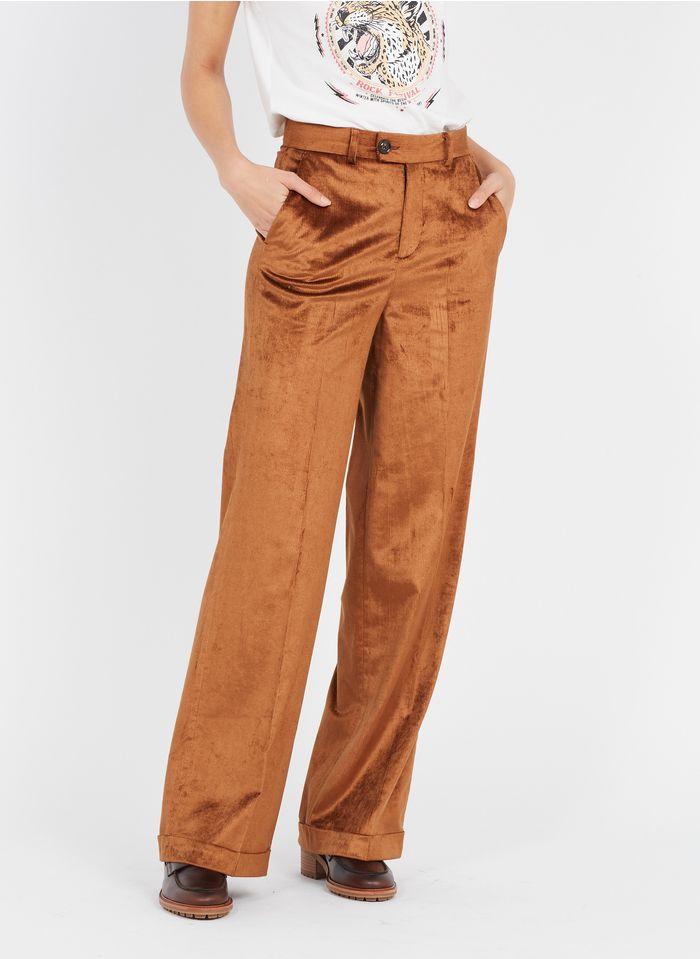 LEON & HARPER Pantalon large taille haute en velours côtelé Marron