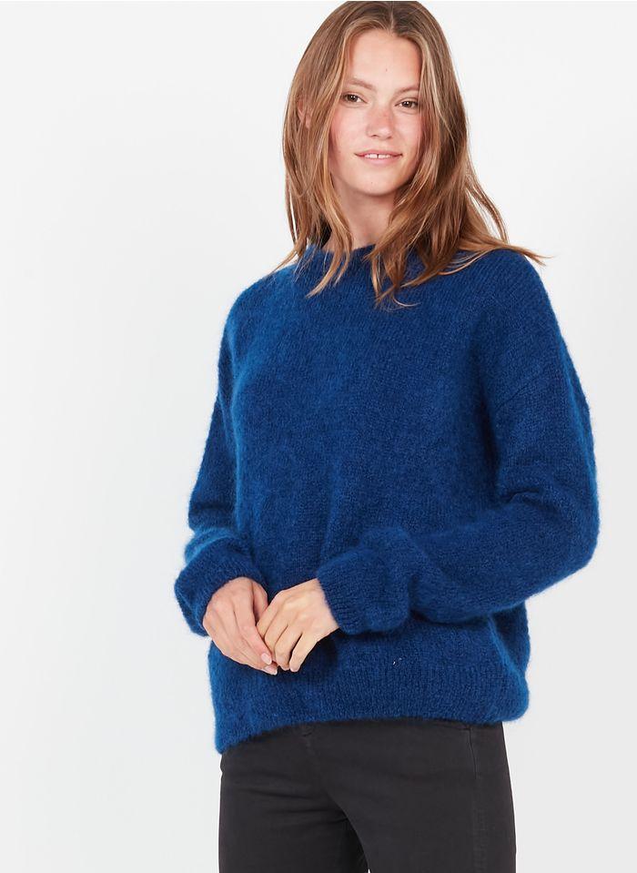 LEON & HARPER Pull col rond en laine kid mohair mélangée Bleu