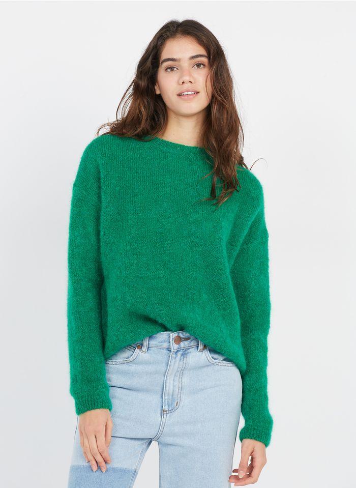 LEON & HARPER Pull col rond en laine kid mohair mélangée Vert