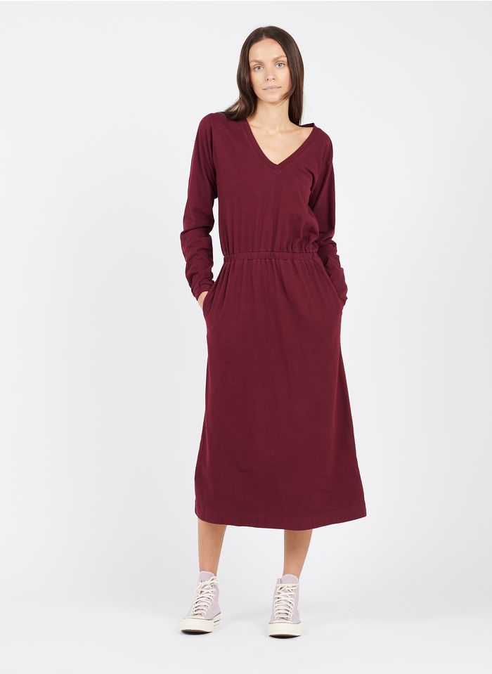 LEON & HARPER Robe longue col V en coton biologique  Rouge