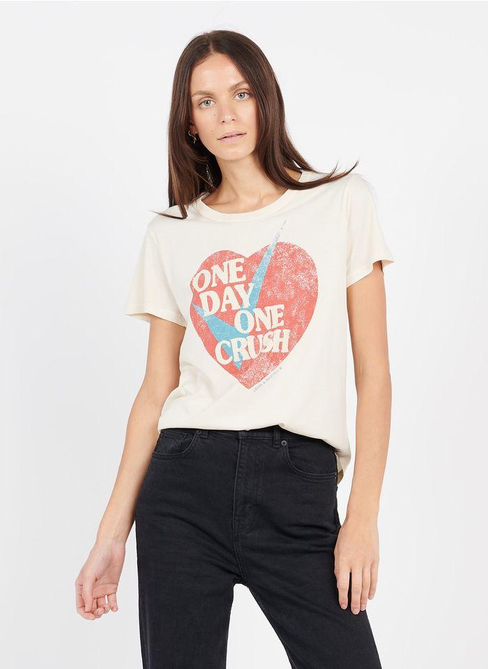 LEON & HARPER Tee-shirt col rond imprimé en coton bio Beige