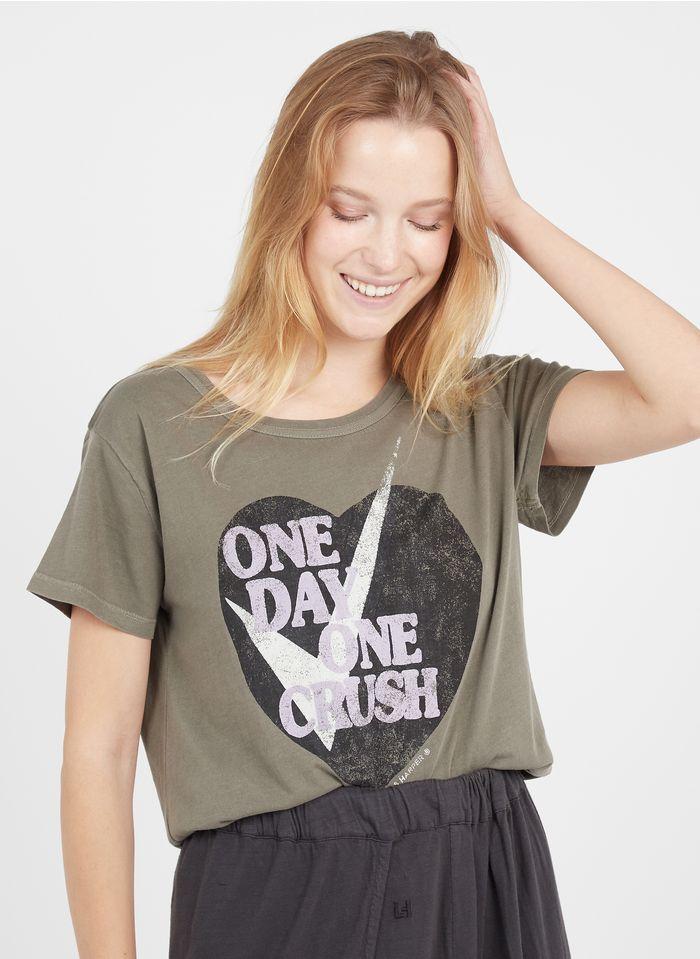 LEON & HARPER Tee-shirt col rond imprimé en coton bio Marron