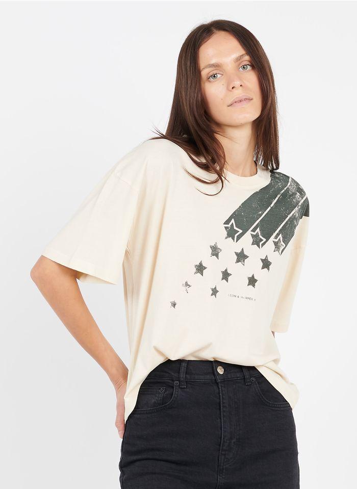 LEON & HARPER Tee-shirt col rond sérigaphié en coton biologique  Beige