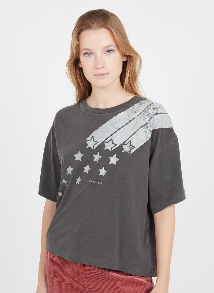 LEON & HARPER Tee-shirt col rond sérigaphié en coton biologique  Gris