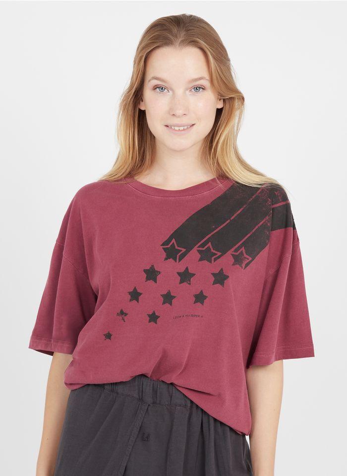 LEON & HARPER Tee-shirt col rond sérigaphié en coton biologique  Rose