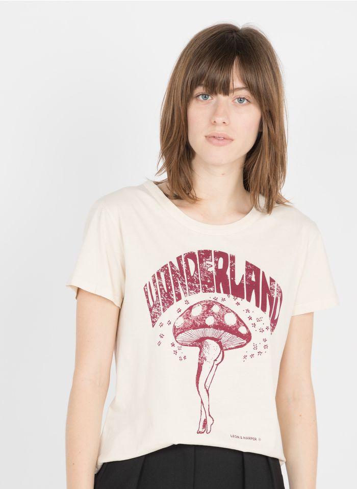 LEON & HARPER Tee-shirt col rond sérigraphié en coton biologique  Beige