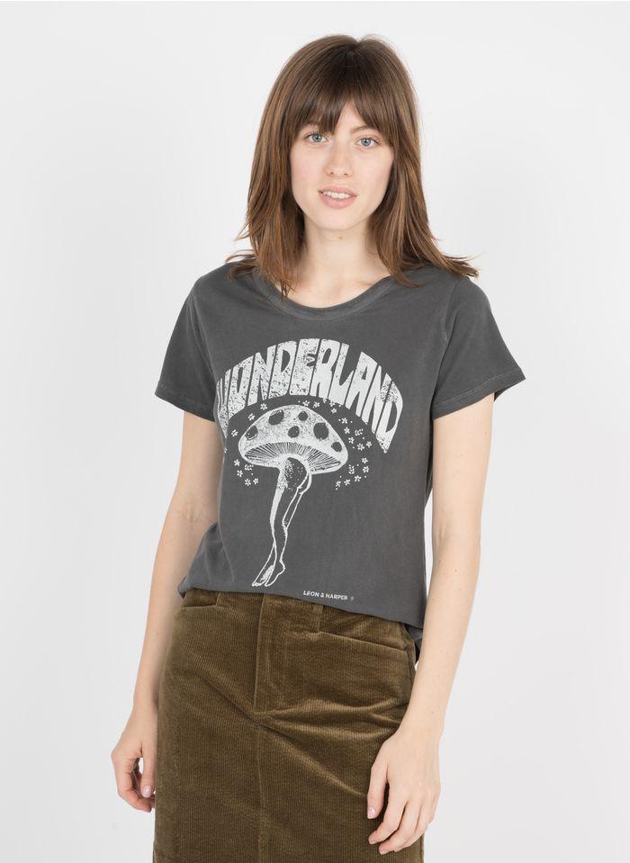 LEON & HARPER Tee-shirt col rond sérigraphié en coton biologique  Gris