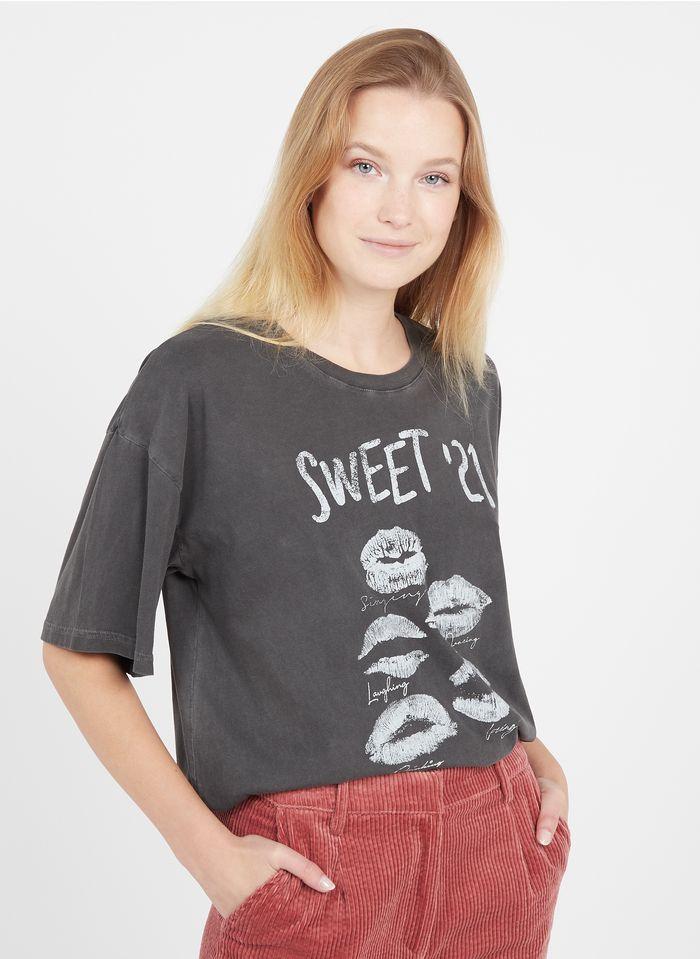 LEON & HARPER Tee-shirt col rond sérigraphié en coton organique  Gris