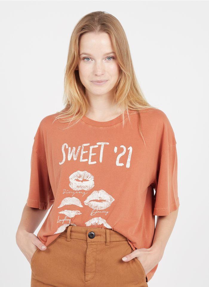 LEON & HARPER Tee-shirt col rond sérigraphié en coton organique  Multicolore